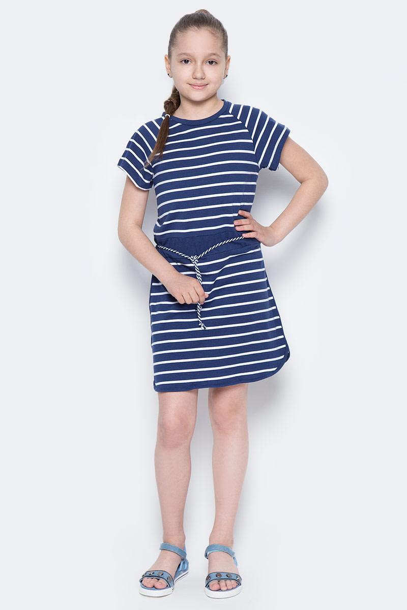 Платье для девочки Sela, цвет: сине-фиолетовый. Dks-617/434-7233. Размер 140, 10 летDks-617/434-7233Лаконичное платье для девочки Sela выполнено из натурального хлопка и оформлено принтом в полоску. Модель прямого кроя с короткими рукавами-реглан подойдет для прогулок и дружеских встреч и станет отличным дополнением гардероба юной модницы. Линию талии подчеркивает вшитый пояс со шнурком. Круглый вырез горловины дополнен мягкой трикотажной резинкой.