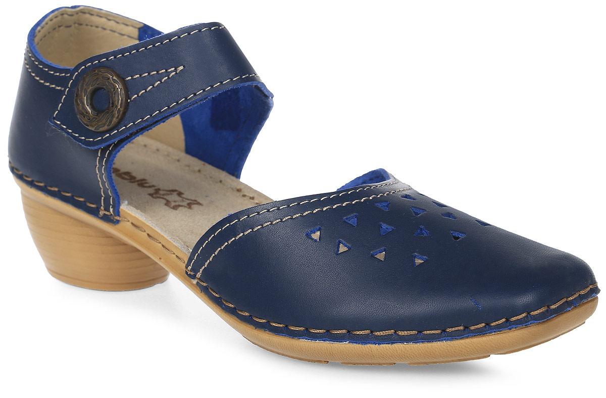 Туфли женские Inblu, цвет: темно-синий. B807Z8 (B807BG07). Размер 41B807Z8 (B807BG07)_синийМодные женские туфли от Inblu выполнены из натуральной кожи. Мыс модели оформлен перфорацией. Внутренняя поверхность и стелька из натуральной кожи гарантируют комфорт. Ремешок с застежкой-кнопкой надежно зафиксирует модель на ноге. Подошва и невысокий каблук дополнены рифлением.