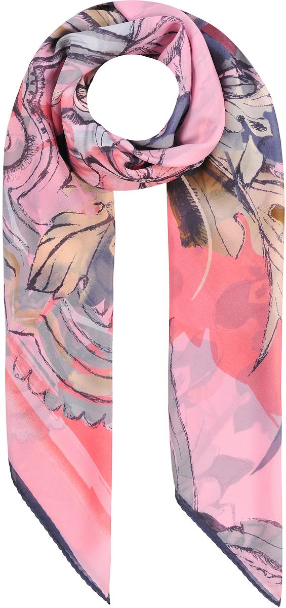 Платок женский Модные истории, цвет: розовый, бежевый, серый. 23/0531/117. Размер 110 см х 110 см23/0531/117Стильный головной платок из хлопка с добавлением натурального шелка. В основе невообразимо красивый яркий принт совмещающий в себе богатую флору и вензеля. Лаконичная машинная обработка контрастного края.