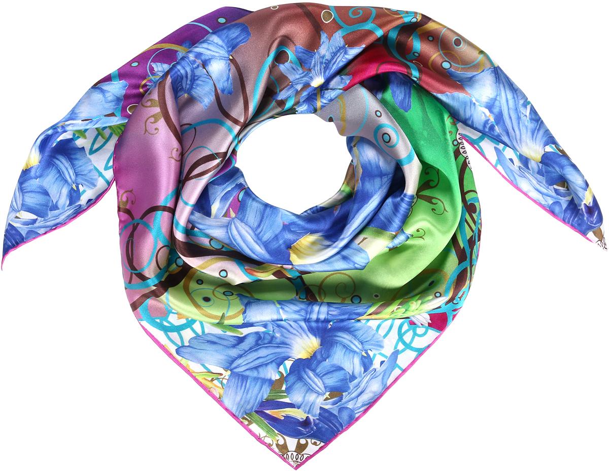 Платок женский Модные истории, цвет: мультиколор. 23/0536. Размер 90 см х 90 см23/0536Изысканный струящийся платок-каре из натурального шелка с панельным цветочным принтом наполненным яркими красками. Ручная обработка края. Легкий и приятный к телу.