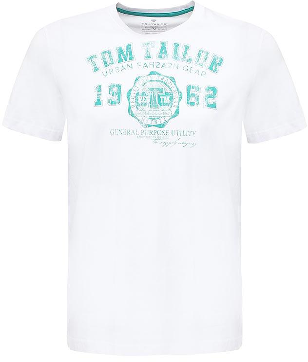 Футболка мужская Tom Tailor, цвет: белый, зеленый. 1023549.06.10_2000. Размер M (48)1023549.06.10_2000Мужская футболка Tom Tailor выполнена из натурального хлопка. Модель с круглым вырезом горловины и короткими рукавами оформлена оригинальным принтом.Такая футболка станет стильным дополнением к вашему гардеробу, она подарит вам комфорт в течение всего дня!