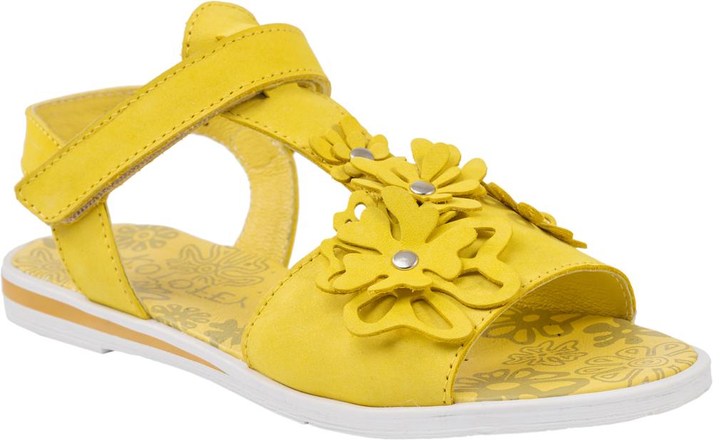 Сандалии для девочки Котофей, цвет: желтый. 522087-21. Размер 34522087-21Модные сандалии для девочки от Котофей выполнены из натуральной кожи. Внутренняя поверхность и стелька из натуральной кожи обеспечат комфорт при движении. Ремешок с застежкой-липучкой надежно зафиксирует модель на ноге. Подошва дополнена рифлением.