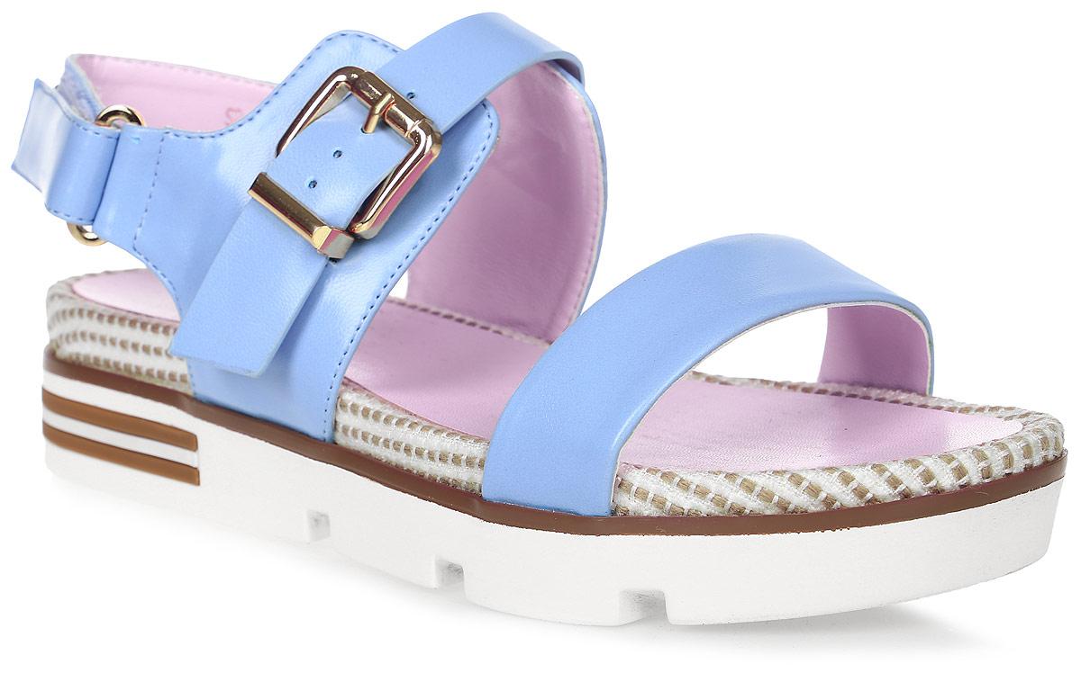 Сандалии женские LK Collection, цвет: голубой. SP-QA1101-2 PU (SP-Q15001-2). Размер 40SP-QA1101-2 PU (SP-Q15001-2)Удобные сандалии на массивной подошве выполнены из искусственной кожи. Стелька выполнена из натуральной кожи. Сандалии фиксируются на ноге при помощи застежки-пряжки.