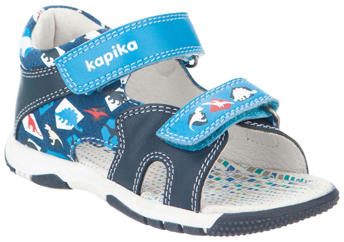Сандалии для мальчика Kapika, цвет: темно-синий, голубой. 31271к-2. Размер 2131271к-2Модные сандалии для мальчика от Kapika выполнены из натуральной и искусственной кожи. Ремешки с застежками-липучками надежно зафиксируют модель на ноге. Внутренняя поверхность и стелька из натуральной кожи обеспечат комфорт при движении. Подошва дополнена рифлением.