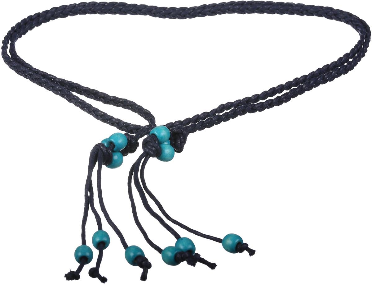Ремень женский Модные истории, цвет: синий. 91/0266/180. Размер 170 см91/0266/180Трендовый плетеный пояс в этническом стиле. Выполнен из натурального хлопка. Декорирован деревянными бусинами.