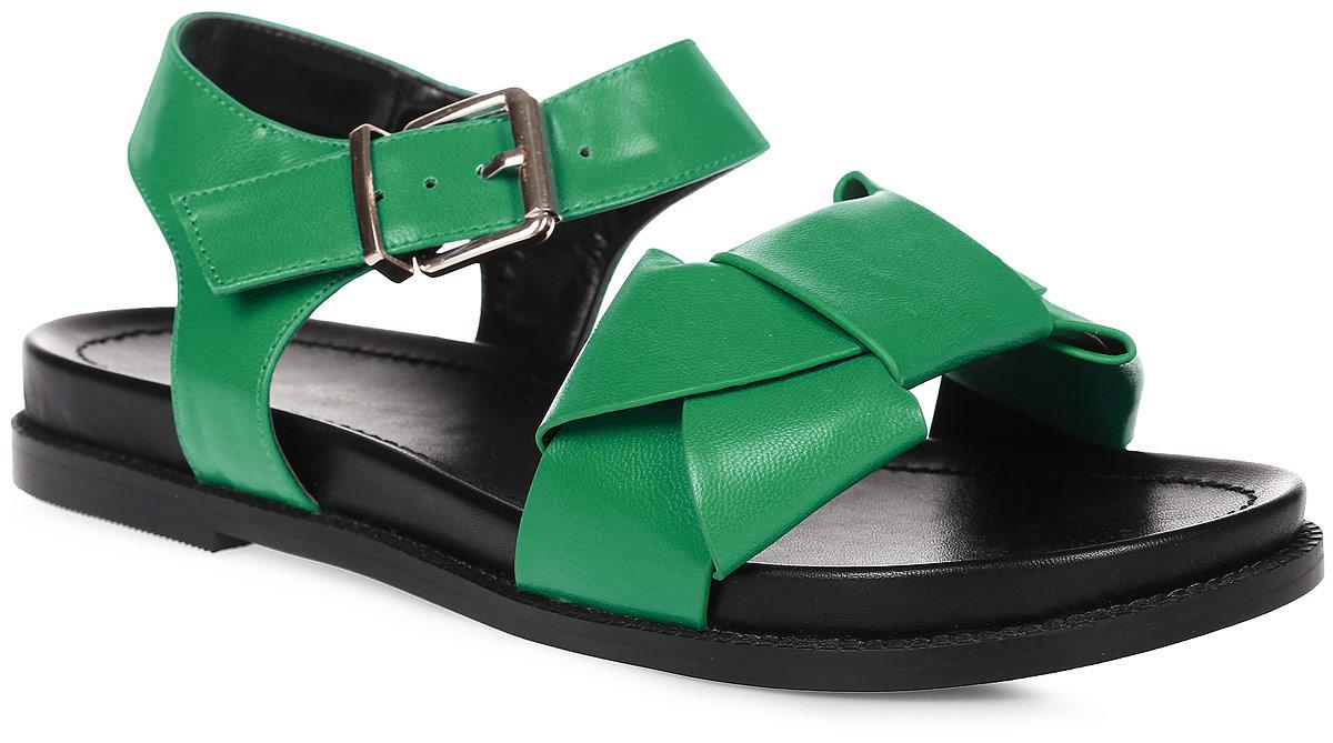 Сандалии женские LK collection, цвет: зеленый. SP-FA2101-4 PU (SP-F03001-4). Размер 38SP-FA2101-4 PU (SP-F03001-4)Удобные сандалии на плоской подошве выполнены из искусственной кожи. Сандалии фиксируются на ноге при помощи застежки-пряжки.
