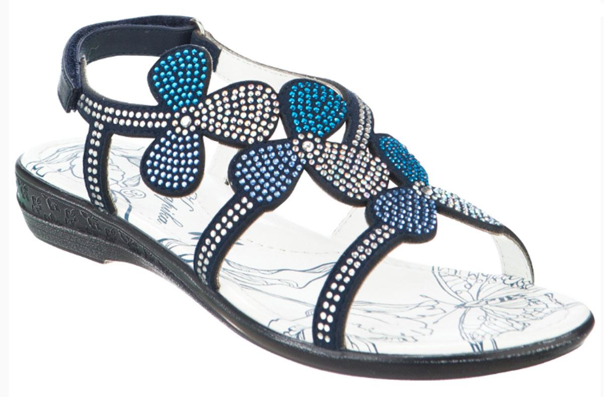 Сандалии для девочки Kapika, цвет: темно-синий. 34049оп-1. Размер 3634049оп-1Модные сандалии для девочки от Kapika выполнены из искусственной кожи и оформлены стразами. Ремешок с застежкой-липучкой надежно зафиксирует модель на ноге. Внутренняя поверхность и стелька из натуральной кожи обеспечат комфорт при движении. Стелька оснащена супинатором. Подошва дополнена рифлением.