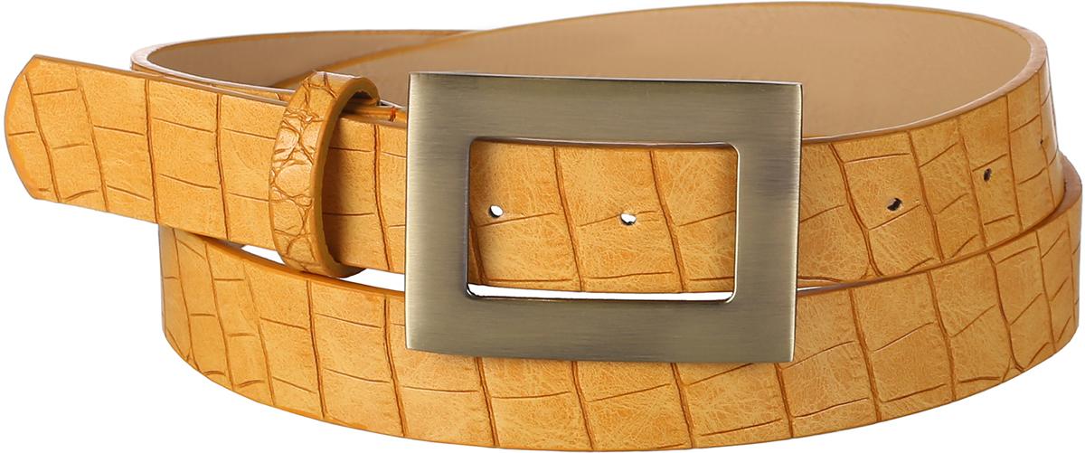 Ремень женский Модные истории, цвет: желтый. 91/0269/068. Размер 120 см91/0269/068Трендовый ремень выполнен из искусственной кожи, декорирован под змеиную кожу. Модель с классической прямоугольной пряжкой цвета состаренной меди.