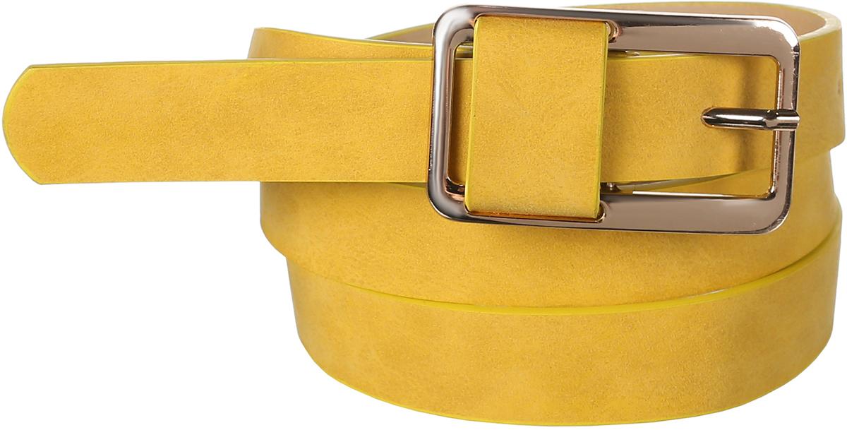 Ремень женский Модные истории, цвет: желтый. 91/0272/068. Размер 117 см91/0272/068Классический ремень из искусственной кожи. Декорирован прямоугольной пряжкой золотого цвета, очень гармонично инкрустированной элементом ремня.