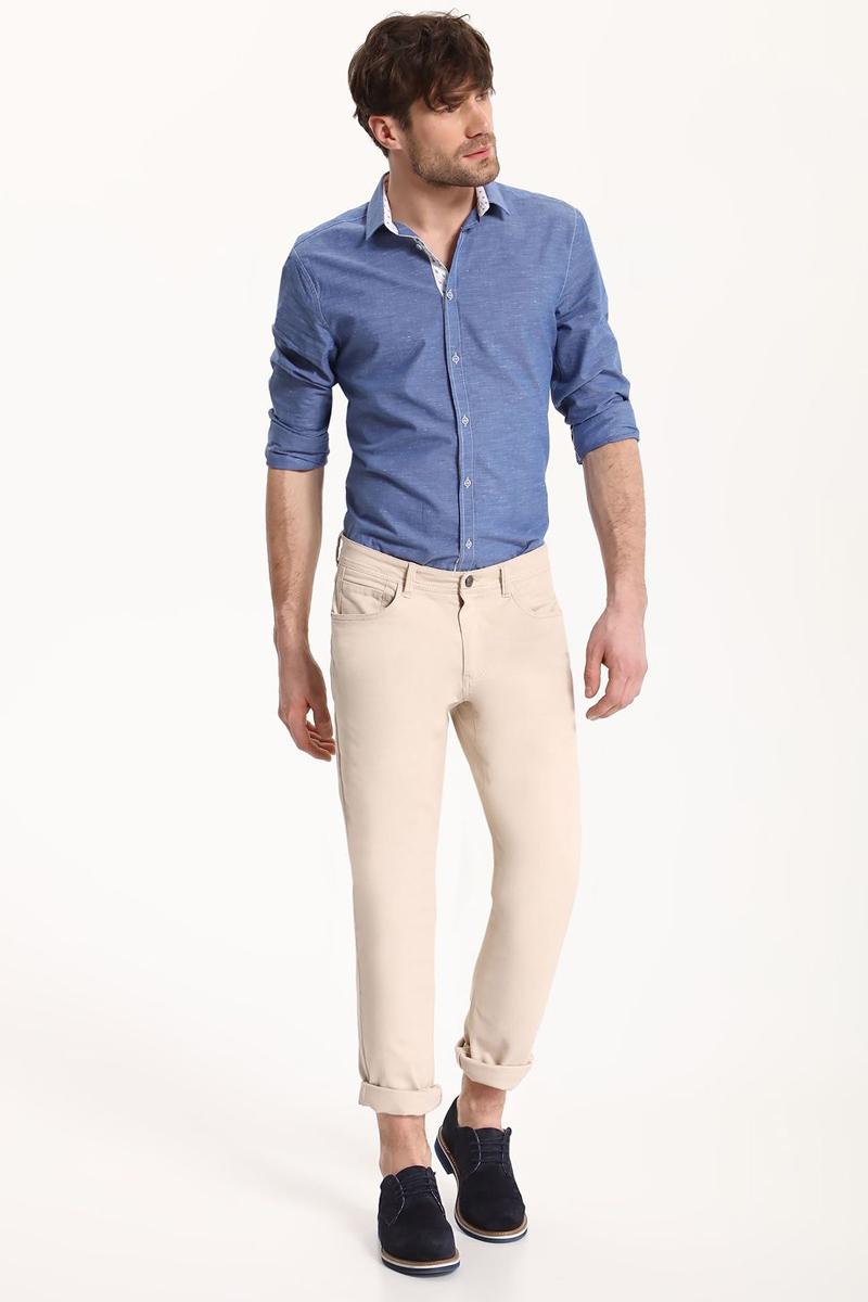 Рубашка мужская Top Secret, цвет: голубой. SKL2324BL. Размер 44/45 (50)SKL2324BLРубашка мужская Top Secret выполнена из хлопка и полиэстера. Модель с отложным воротником и длинными рукавами застегивается на пуговицы.