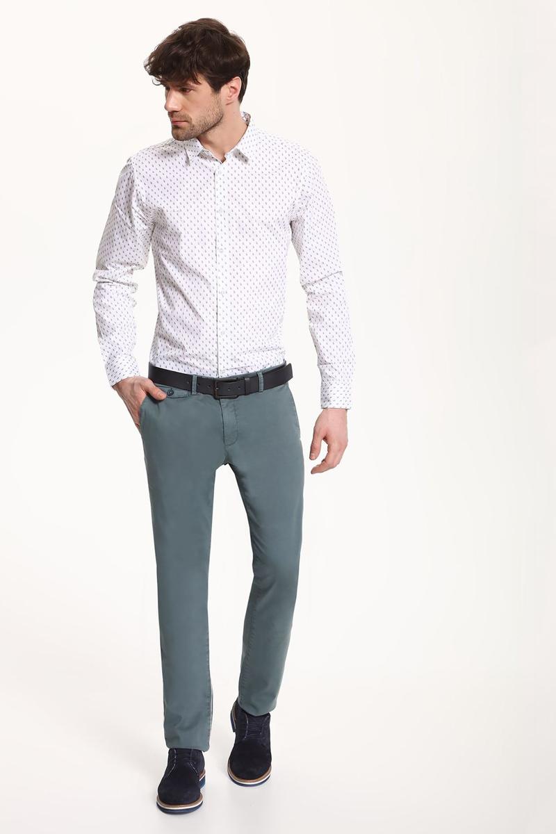 Рубашка мужская Top Secret, цвет: белый. SKL2325BI. Размер 40/41 (48)SKL2325BIРубашка мужская Top Secret выполнена из 100% хлопка. Модель с отложным воротником и длинными рукавами застегивается на пуговицы.