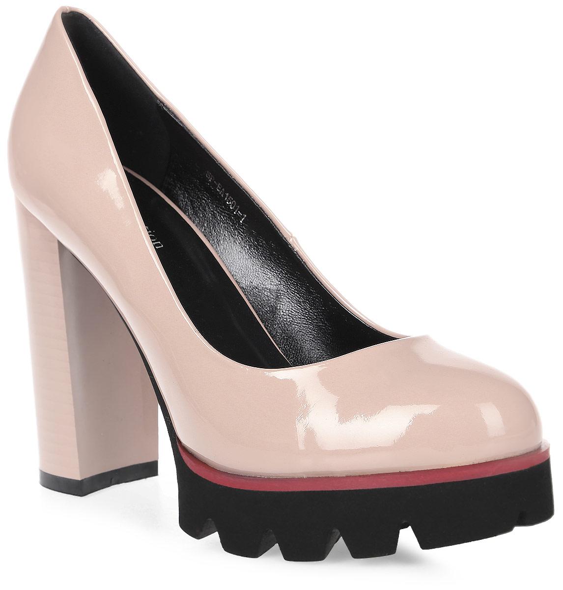 Туфли женские LK collection, цвет: бежевый. SP-EA1501-1 PU (SP-E324001-1). Размер 39SP-EA1501-1 PU (SP-E324001-1)Стильные туфли на высоком каблуке и тракторной подошве выполнены из искусственной кожи. Стелька выполнена из натуральной кожи.
