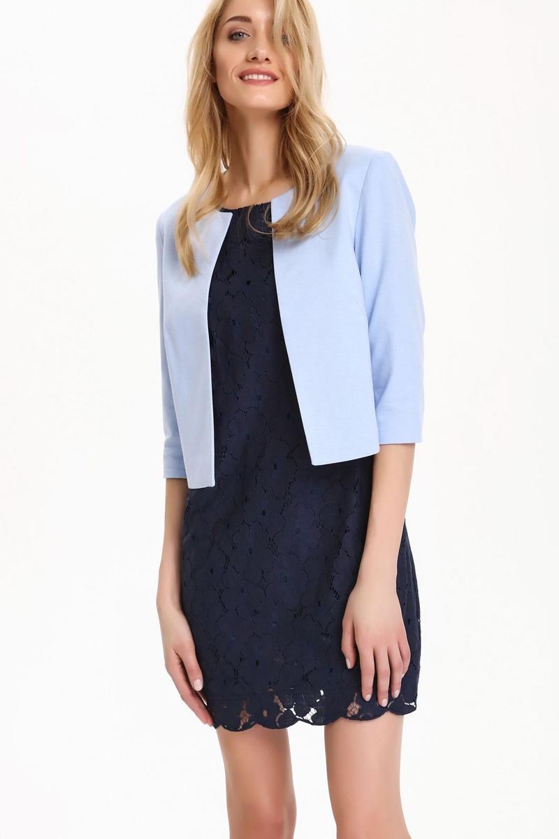 Платье Top Secret, цвет: синий. SSU1766GR. Размер 40 (48)SSU1766GRПлатье Top Secret выполнено из хлопка и полиамида. Модель с круглым вырезом горловины и рукавами 3/4 сзади застегивается на застежку-молнию.