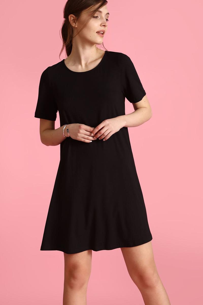 Платье Top Secret, цвет: черный. SSU1830CA. Размер 40 (48)SSU1830CAПлатье Top Secret выполнено из полиэстера и эластана. Модель с круглым вырезом горловины и короткими рукавами.