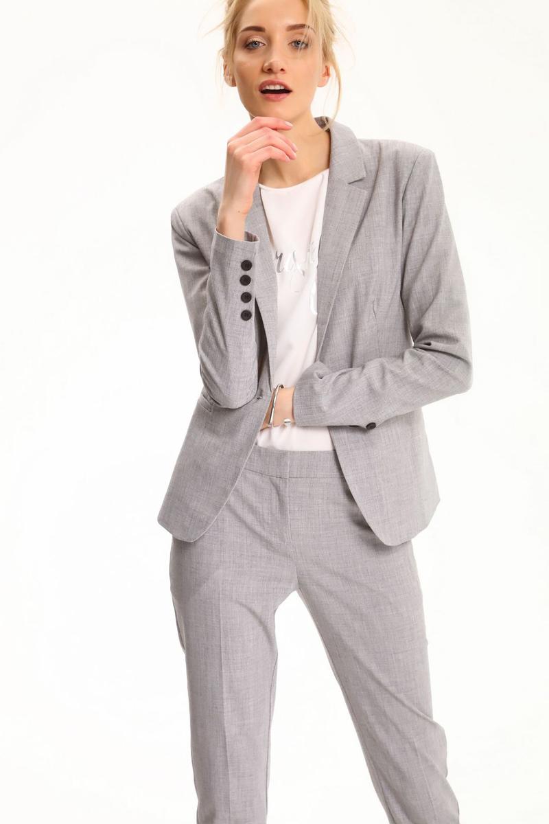Жакет женский Top Secret, цвет: серый. SZK0530GB. Размер 40 (48)SZK0530GBЖенский жакет Top Secret выполнен из высококачественного комбинированного материала. Модель с воротником с лацканами и длинными рукавами застегивается на пуговицу.