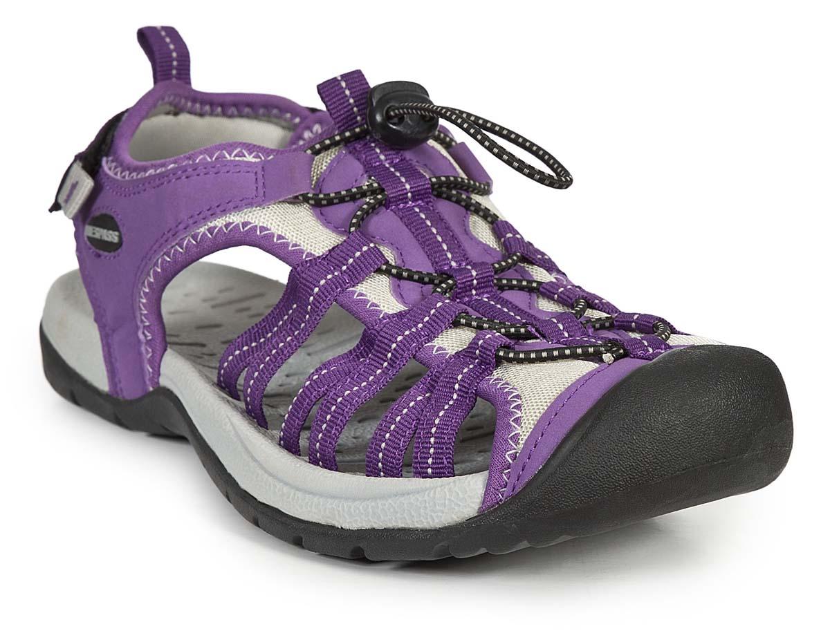 Сандалии женские Trespass Facet, цвет: фиолетовый. FAFOBEL10001. Размер 38FAFOBEL10001Удобные трекинговые сандалии для занятия туризмом. Модель выполнена из текстиля. Резиновая подошва оснащена рифлением.
