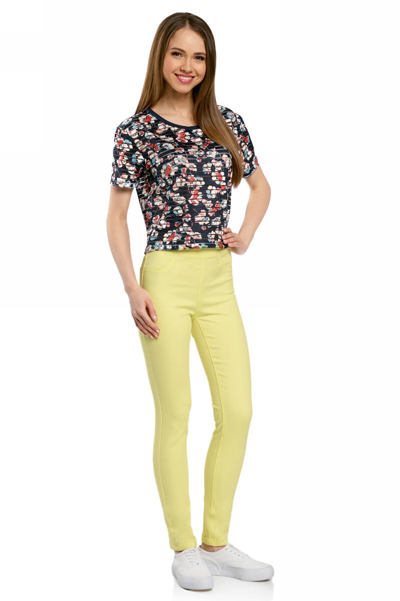 Джинсы женские oodji Ultra, цвет: желто-зеленый. 12104043-7B/46261/6700N. Размер 30-32 (50-32)12104043-7B/46261/6700NДжинсы-легинсы на эластичном поясе