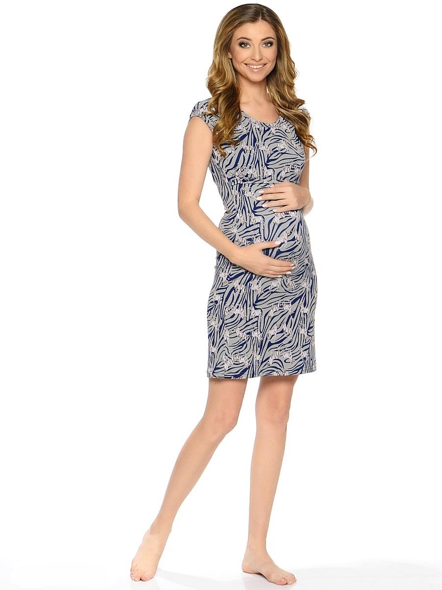 Сорочка для беременных и кормящих 40 недель, цвет: серый, синий. 183120. Размер 48183120Комфортная и красивая ночная сорочка для беременных и кормления от бренда 40 недель выполнена из приятного трикотажного полотна. Мягкая ткань, женственный силуэтный покрой и уникальный секрет кормления делают сорочку удобной и любимой, а цветовая гамма изделия позволяет носить ее как домашнее платье для кормления.