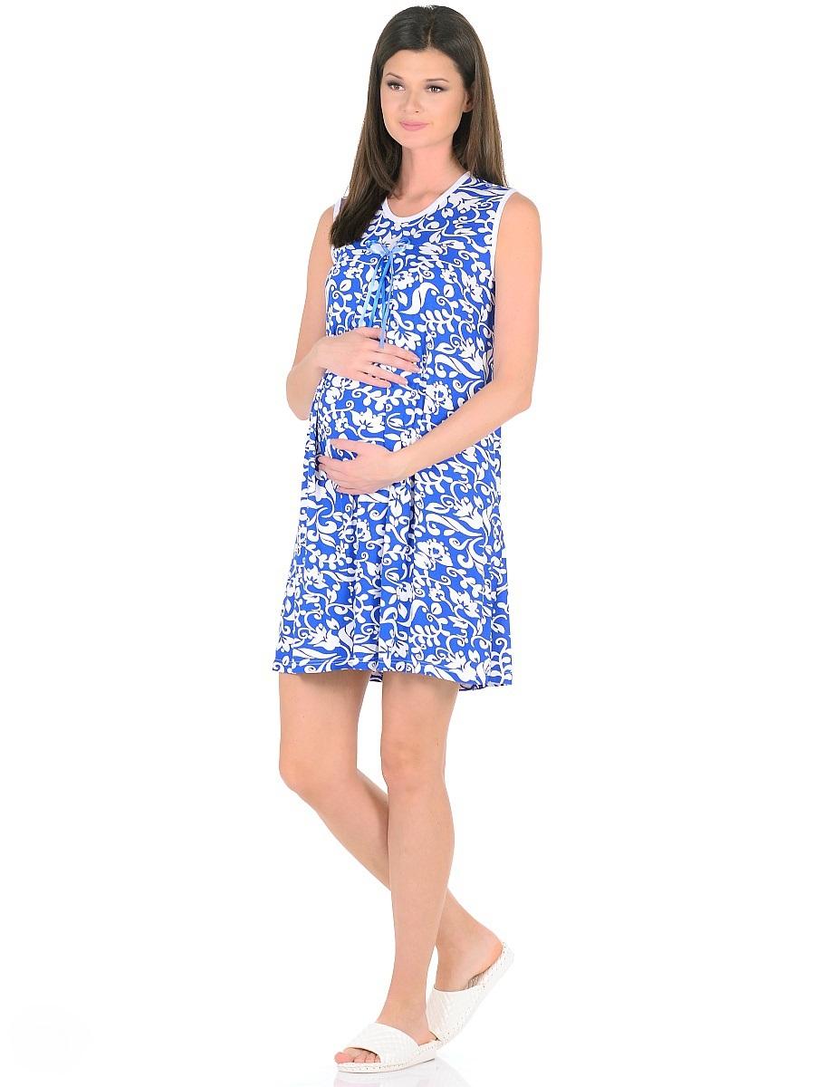 Сорочка ночная для беременных и кормящих 40 недель, цвет: белый, синий. 191010. Размер 52191010Женственная ночная сорочка для беременных женщин и кормящих мам от бренда 40 недель изготовлена из вискозного полотна. Модель без рукавов, свободного силуэта, с округлым вырезом горловины. В данной модели привлекает внимание женственный дизайн, оригинальная расцветка с контрастной окантовкой и декором на груди, отменный пошив, приятная структура ткани. Свободный крой с красивыми складками от высокой отрезной кокетки предусматривает пространство для животика во время беременности, создает комфорт и свободу движениям во время домашнего отдыха и сна.