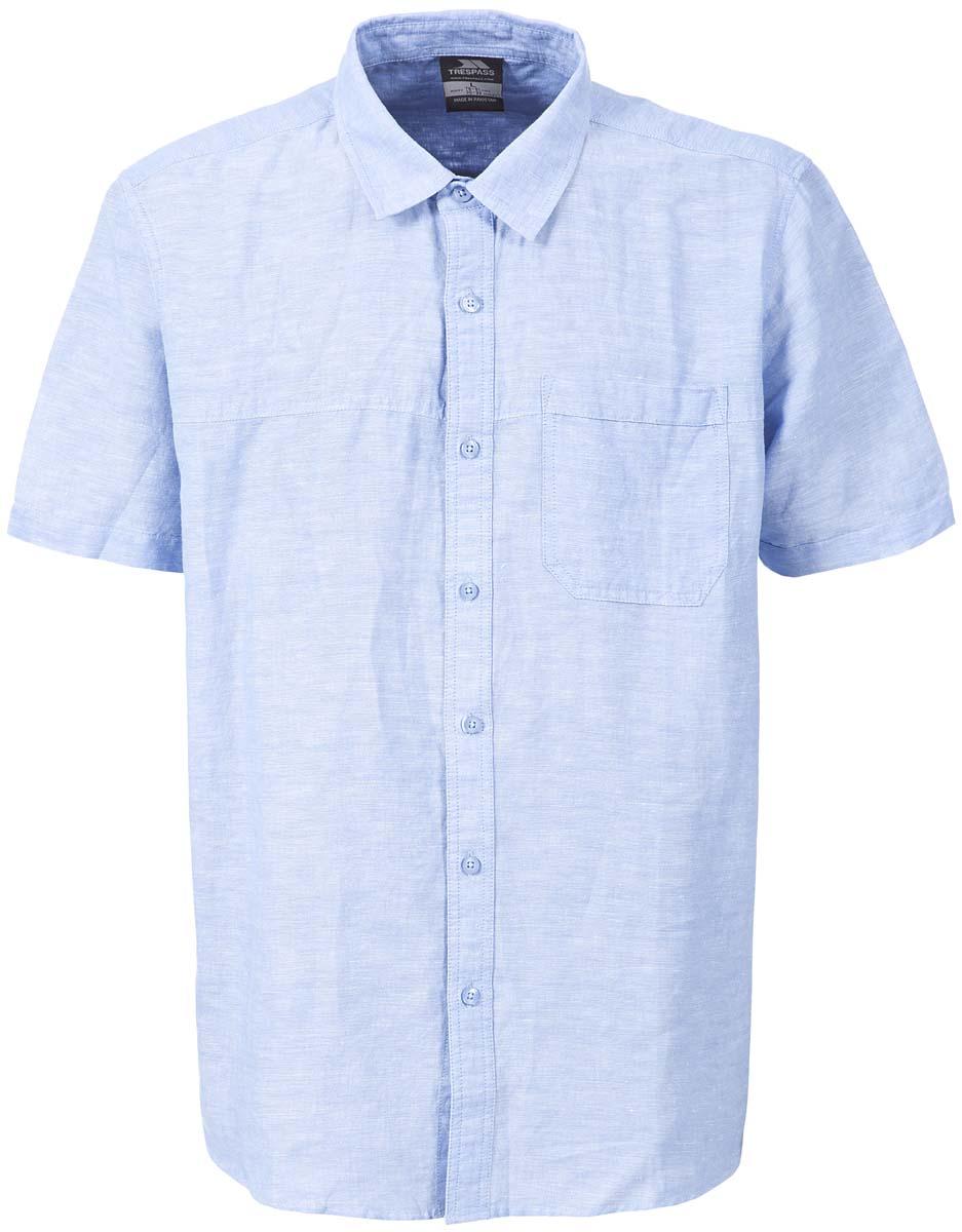Рубашка мужская Trespass Saratov, цвет: голубой. MATOSBM10001. Размер S (48)MATOSBM10001Мужская рубашка Trespass Saratov выполнена из хлопка. Модель с короткими стандартными рукавами и отложным воротником. Застегивается на планку с пуговицами. Спереди имеется накладной нагрудной карман.