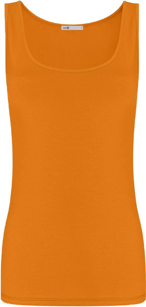 Майка женская oodji Collection, цвет: темно-оранжевый. 24315001B/46147/5900N. Размер S (44)24315001B/46147/5900NМайка oodji Collection выполнена из хлопка с добавлением эластана, который обладает свойством эластичности. Модель без рукавов и круглым вырезом горловины дополнена прострочкой.