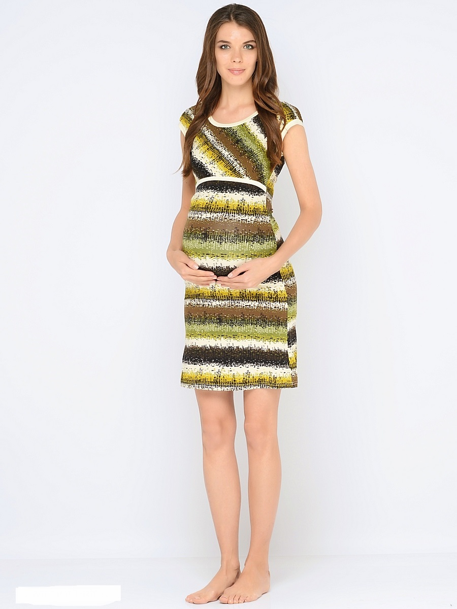 Сорочка ночная для беременных и кормящих 40 недель, цвет: зеленый, молочный. 180120. Размер 50180120Красивая ночная сорочка для кормления от бренда 40 недель выполнена из приятного трикотажного полотна. Мягкая ткань, женственный, силуэтный покрой, уникальный секрет кормления делают сорочку удобной, а цветовая гамма изделия позволяет носить сорочку как домашнее платье для кормления.