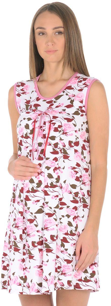 Сорочка ночная для беременных и кормящих 40 недель, цвет: розовый, белый. 191010. Размер 48191010Женственная ночная сорочка для беременных женщин и кормящих мам от бренда 40 недель изготовлена из вискозного полотна. Модель без рукавов, свободного силуэта, с округлым вырезом горловины. В данной модели привлекает внимание женственный дизайн, оригинальная расцветка с контрастной окантовкой и декором на груди, отменный пошив, приятная структура ткани. Свободный крой с красивыми складками от высокой отрезной кокетки предусматривает пространство для животика во время беременности, создает комфорт и свободу движениям во время домашнего отдыха и сна.