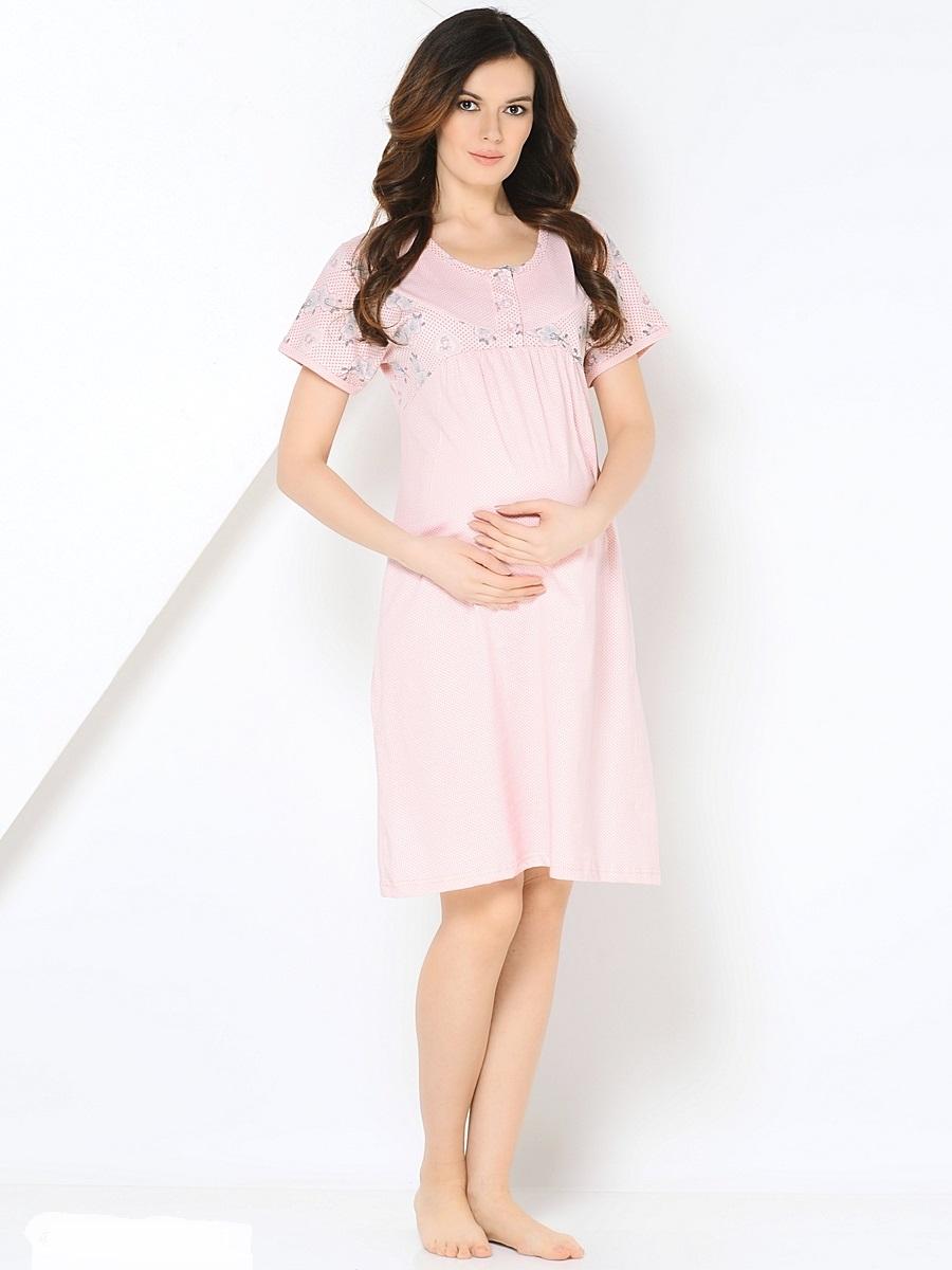 Сорочка ночная для беременных и кормящих 40 недель, цвет: розовый. 180127. Размер 48180127Комфортная хлопковая сорочка для беременных от бренда 40 недель покорит вас своим дизайном и функциональностью. Модель с коротким цельнокроеным рукавом, дополненная кокеткой на пуговицах. Мягкая, хлопковая ткань, женственный продуманный крой и окантовка делают сорочку комфортной и любимой. Приятная пастельная цветовая гамма создаст хорошое настроение. Сорочка подойдет как на всем сроке беременности, так и в период грудного кормления.