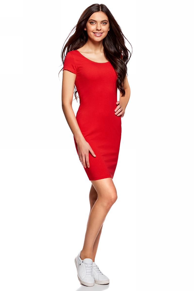 Платье oodji Collection, цвет: красный. 24001082-2B/47420/4500N. Размер S (44)24001082-2B/47420/4500NПлатье от oodji облегающего силуэта с глубоким вырезом на спине выполнено из эластичного хлопка. Модель с короткими рукавами.