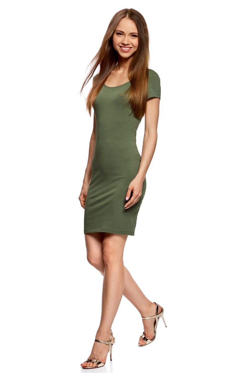 Платье oodji Collection, цвет: темно-зеленый. 24001082-2B/47420/6900N. Размер M (46)24001082-2B/47420/6900NПлатье от oodji облегающего силуэта с глубоким вырезом на спине выполнено из эластичного хлопка. Модель с короткими рукавами.