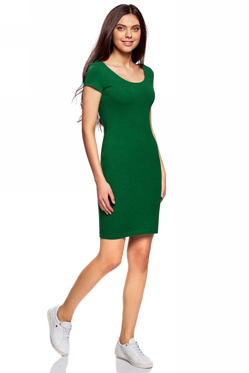 Платье oodji Collection, цвет: темно-изумрудный. 24001082-2B/47420/6E00N. Размер M (46)24001082-2B/47420/6E00NПлатье от oodji облегающего силуэта с глубоким вырезом на спине выполнено из эластичного хлопка. Модель с короткими рукавами.