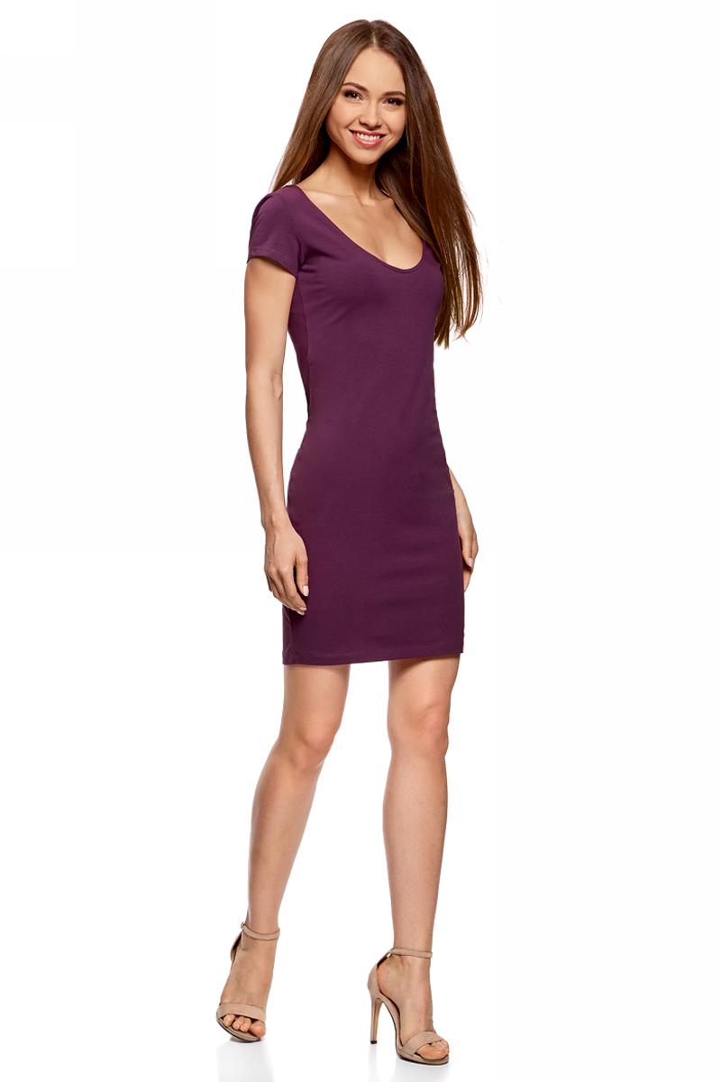 Платье oodji Collection, цвет: фиолетовый. 24001082-2B/47420/8300N. Размер XS (42)24001082-2B/47420/8300NПлатье от oodji облегающего силуэта с глубоким вырезом на спине выполнено из эластичного хлопка. Модель с короткими рукавами.