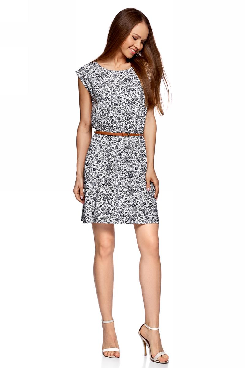 Платье oodji Ultra, цвет: белый, темно-синий. 11910073-2B/45470/1279F. Размер 38-170 (44-170)11910073-2B/45470/1279FПлатье без рукавов из принтованной вискозы