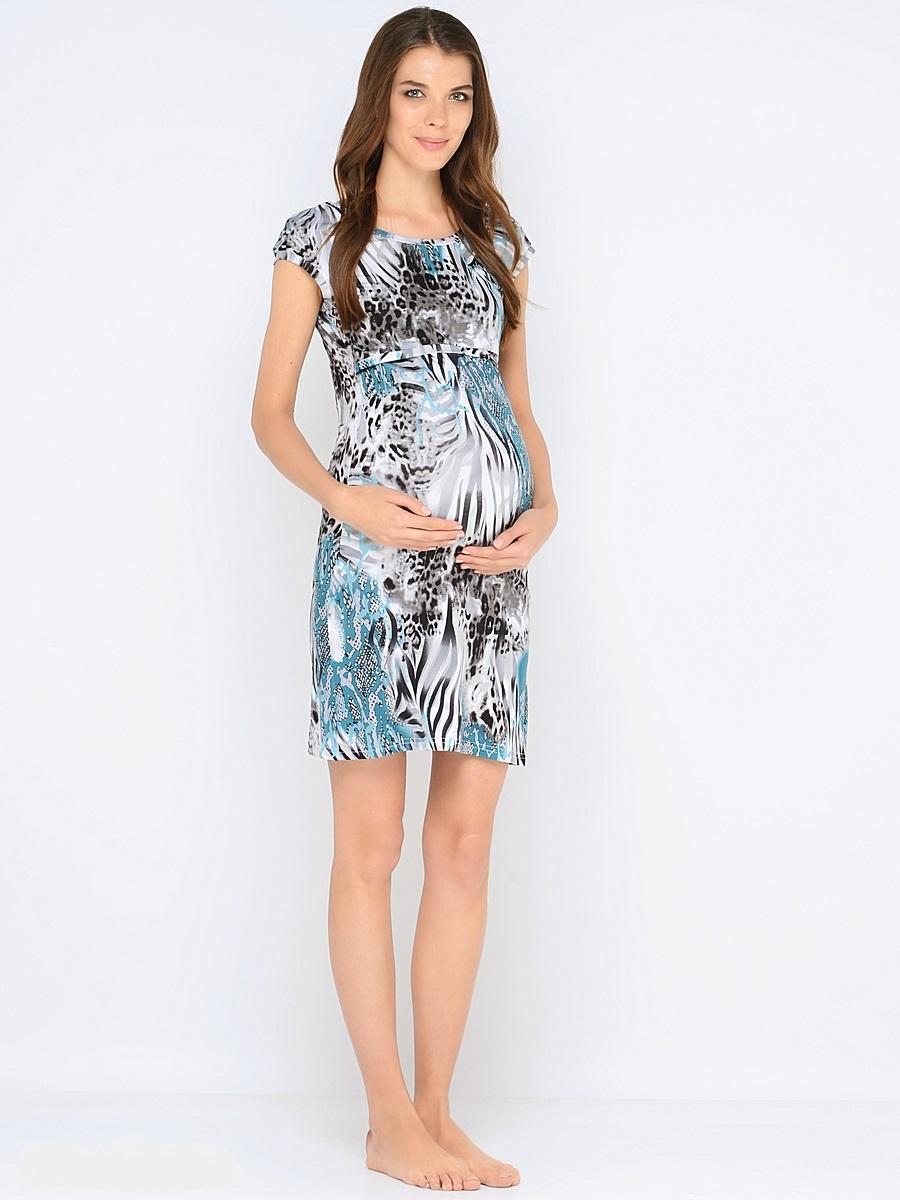Сорочка для беременных и кормящих 40 недель, цвет: серый, бирюзовый. 183120. Размер 48183120Комфортная и красивая ночная сорочка для беременных и кормления от бренда 40 недель выполнена из приятного трикотажного полотна. Мягкая ткань, женственный силуэтный покрой и уникальный секрет кормления делают сорочку удобной и любимой, а цветовая гамма изделия позволяет носить ее как домашнее платье для кормления.