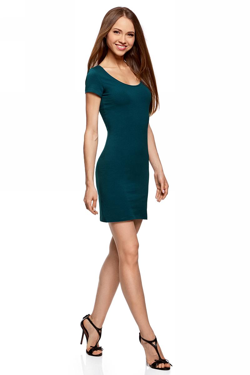 Платье oodji Ultra, цвет: морской волны. 14001182B/47420/7400N. Размер L (48)14001182B/47420/7400NОблегающее платье oodji Ultra выполнено из качественного трикотажа. Модель мини-длины с круглымвырезом горловиныи короткими рукавамивыгодно подчеркивает достоинства фигуры.