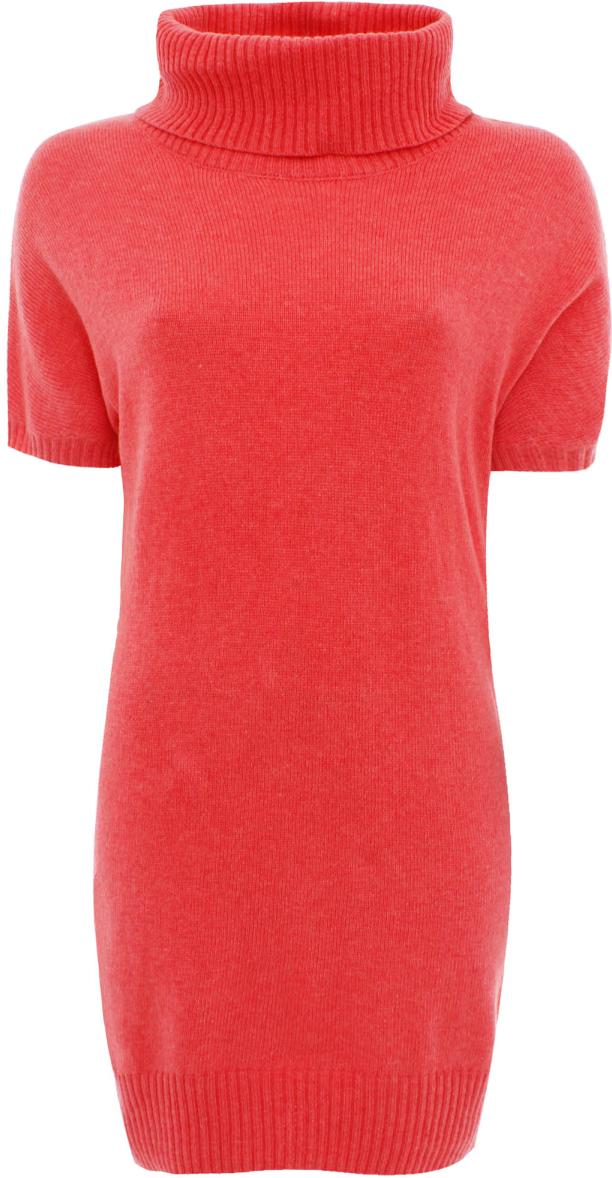 Платье oodji Ultra, цвет: коралловый. 63907060/35057/4300N. Размер 34 (40)63907060/35057/4300NТрикотажное платье oodji изготовлено из качественного смесового материала. Облегающая модель выполнена с объемным воротником-гольф и короткими рукавами.