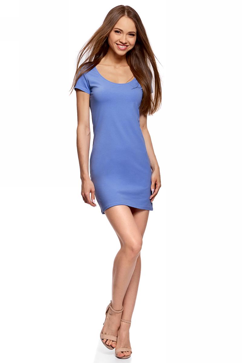 Платье oodji Ultra, цвет: синий. 14001182B/47420/7502N. Размер XS (42)14001182B/47420/7502NОблегающее платье oodji Ultra выполнено из качественного трикотажа. Модель мини-длины с круглым вырезом горловиныи короткими рукавами выгодно подчеркивает достоинства фигуры.