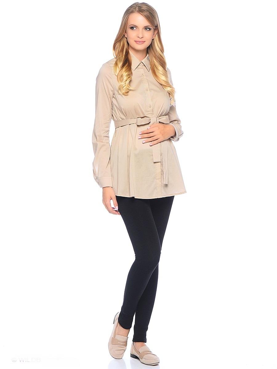 Блузка для беременных 40 недель, цвет: бежевый. 215203. Размер 46215203Классическая блузка для беременных от бренда 40 недель - прекрасный офисный вариант для будущей мамы. Модель трапециевидного покроя, с поясом, длинным рукавом и с отложным воротником. Передняя планка полностью застегивается на пуговицы. Специальный крой обеспечивает отличную посадку по фигуре и создает простор для животика. Поясом можно подчеркнуть женственный силуэт.Универсальный фасон позволяет комбинировать такую блузку с любыми предметами гардероба и создавать безупречные образы на каждый день или для особых случаев в период беременности и после рождения малыша.