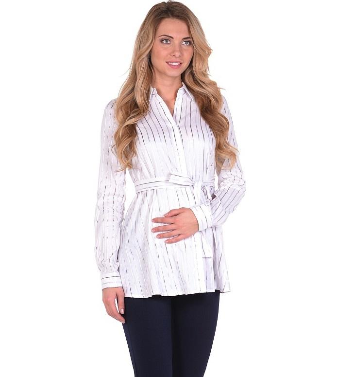 Блузка для беременных 40 недель, цвет: белый, серый. 215203/5. Размер 44215203/5Классическая блузка для беременных от бренда 40 недель - прекрасный офисный вариант для будущей мамы. Модель трапециевидного покроя, с поясом, длинным рукавом и с отложным воротником. Передняя планка полностью застегивается на пуговицы. Специальный крой обеспечивает отличную посадку по фигуре и создает простор для животика. Поясом можно подчеркнуть женственный силуэт.Универсальный фасон позволяет комбинировать такую блузку с любыми предметами гардероба и создавать безупречные образы на каждый день или для особых случаев в период беременности и после рождения малыша.