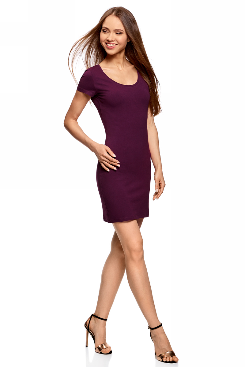 Платье oodji Ultra, цвет: фиолетовый. 14001182B/47420/8300N. Размер S (44)14001182B/47420/8300NОблегающее платье oodji Ultra выполнено из качественного трикотажа. Модель мини-длины с круглым вырезом горловиныи короткими рукавами выгодно подчеркивает достоинства фигуры.