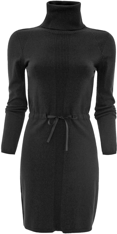 Платье oodji Ultra, цвет: черный. 63912118/35059/2900N. Размер 38 (44)63912118/35059/2900NТрикотажное платье oodji изготовлено из качественного смесового материала. Модель выполнена с объемным воротником-гольф и длинными рукавами. На талии платье дополнено вшитым поясом.