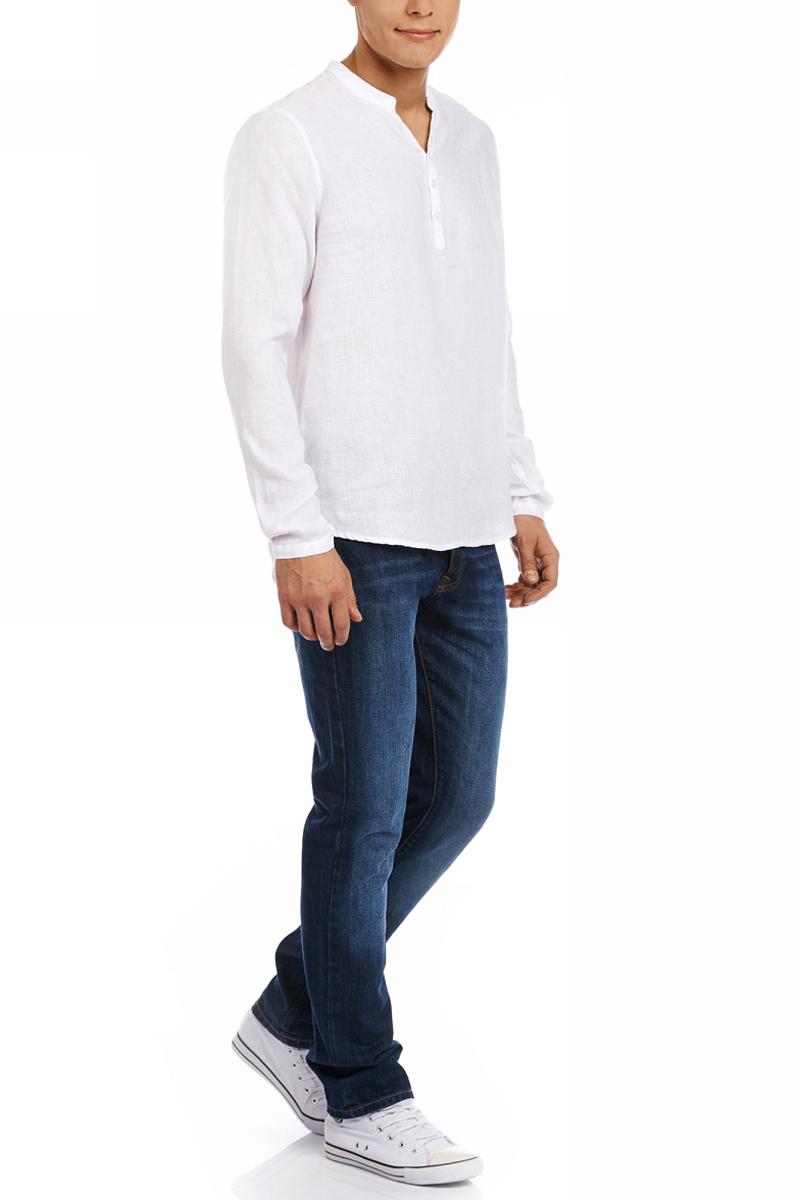 Рубашка мужская oodji Basic, цвет: белый. 3B320002M/21155N/1000N. Размер XL (56)3B320002M/21155N/1000NМужская рубашка от oodji выполнена из натурального льна. Модель без воротника с длинными рукавами на груди застегивается на пуговицы. Лен идеально подходит для теплой погоды. Он пропускает воздух, не вызывает аллергии, не выцветает на солнце. Льняные вещи просто приятно носить в жаркие дни.