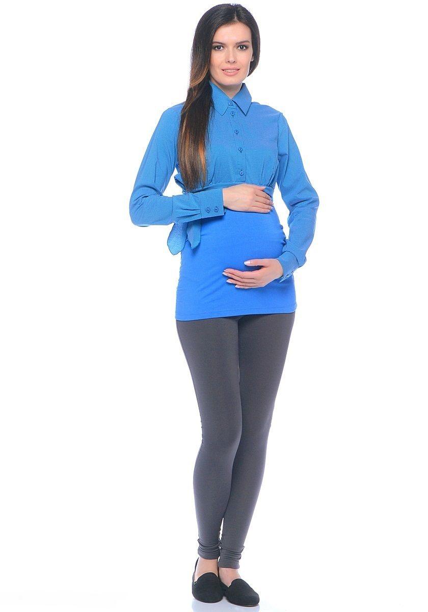 Блузка для беременных 40 недель, цвет: голубой. 20101. Размер 4820101Комбинированная блузка для беременных от бренда 40 недель исполнена из вискозного полотна и трикотажа. Верхняя часть блузки выполнена по фасону классической рубашки рельефного кроя с передней планкой на пуговицах. Нижняя часть блузки от кокетки - из эластичного трикотажа, боковые швы присобраны на формирующие резинки. Сочетая в себе продуманный дизайн и положительные характеристики в носке, такую блузку комфортно носить на любом сроке беременности и после рождения малыша.