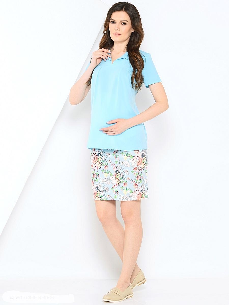 Блузка для беременных 40 недель, цвет: голубой. 210202. Размер 46210202Красивая блузка для беременных от бренда 40 недель выполнена из тонкого, эластичного трикотажного полотна свободного покроя. Блузка с V-образным вырезом и отложным воротником, с коротким рукавом и втачным пояском в боковых швах. Блузка подойдет как для работы в офисе, так и на каждый день.