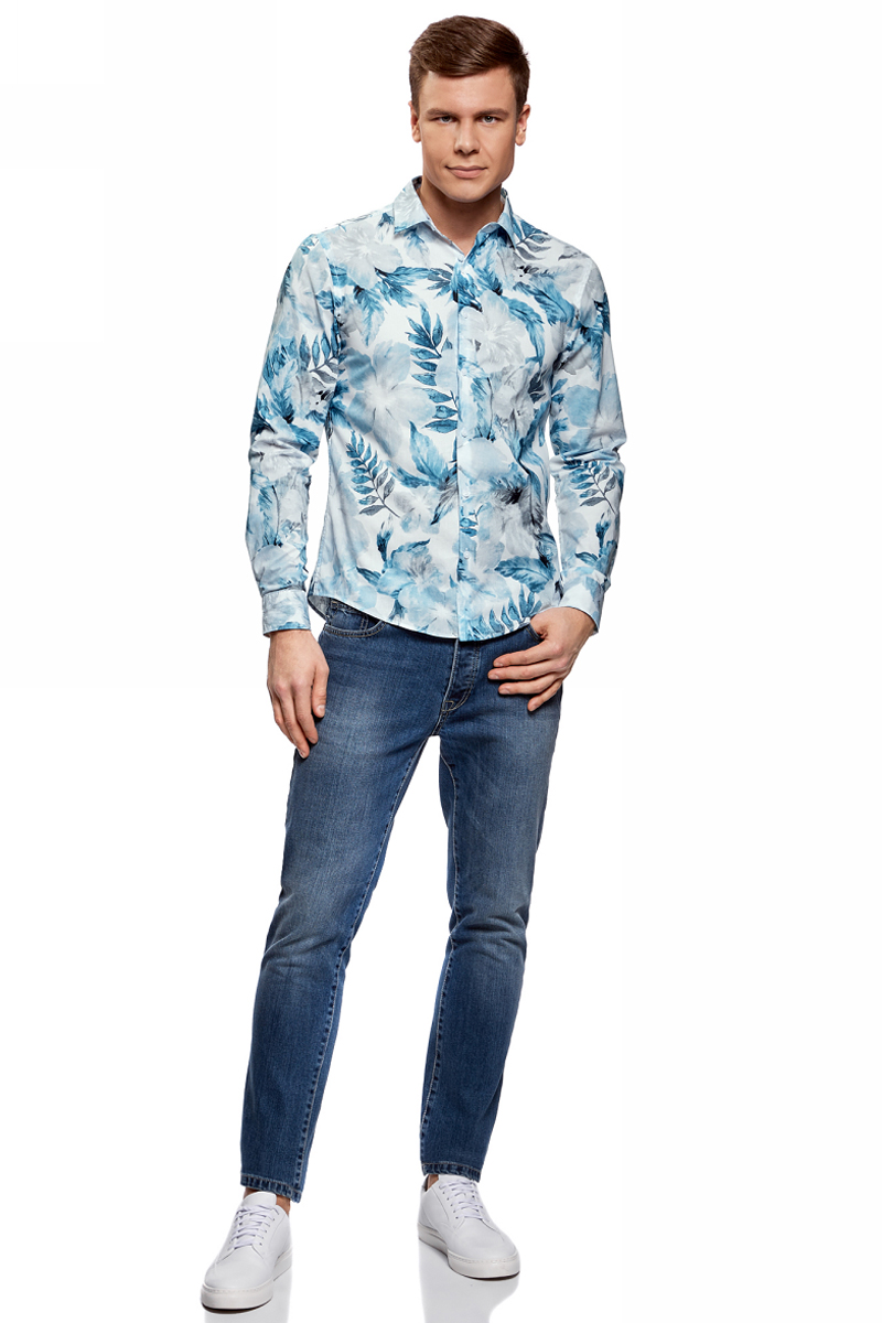 Рубашка мужская oodji Lab, цвет: белый, синий. 3L310142M/46603N/1075F. Размер L (52/54)3L310142M/46603N/1075FМужская рубашка от oodji выполнена из натурального хлопка. Модель приталенного кроя с длинными рукавами и цветочным принтом застегивается на пуговицы.