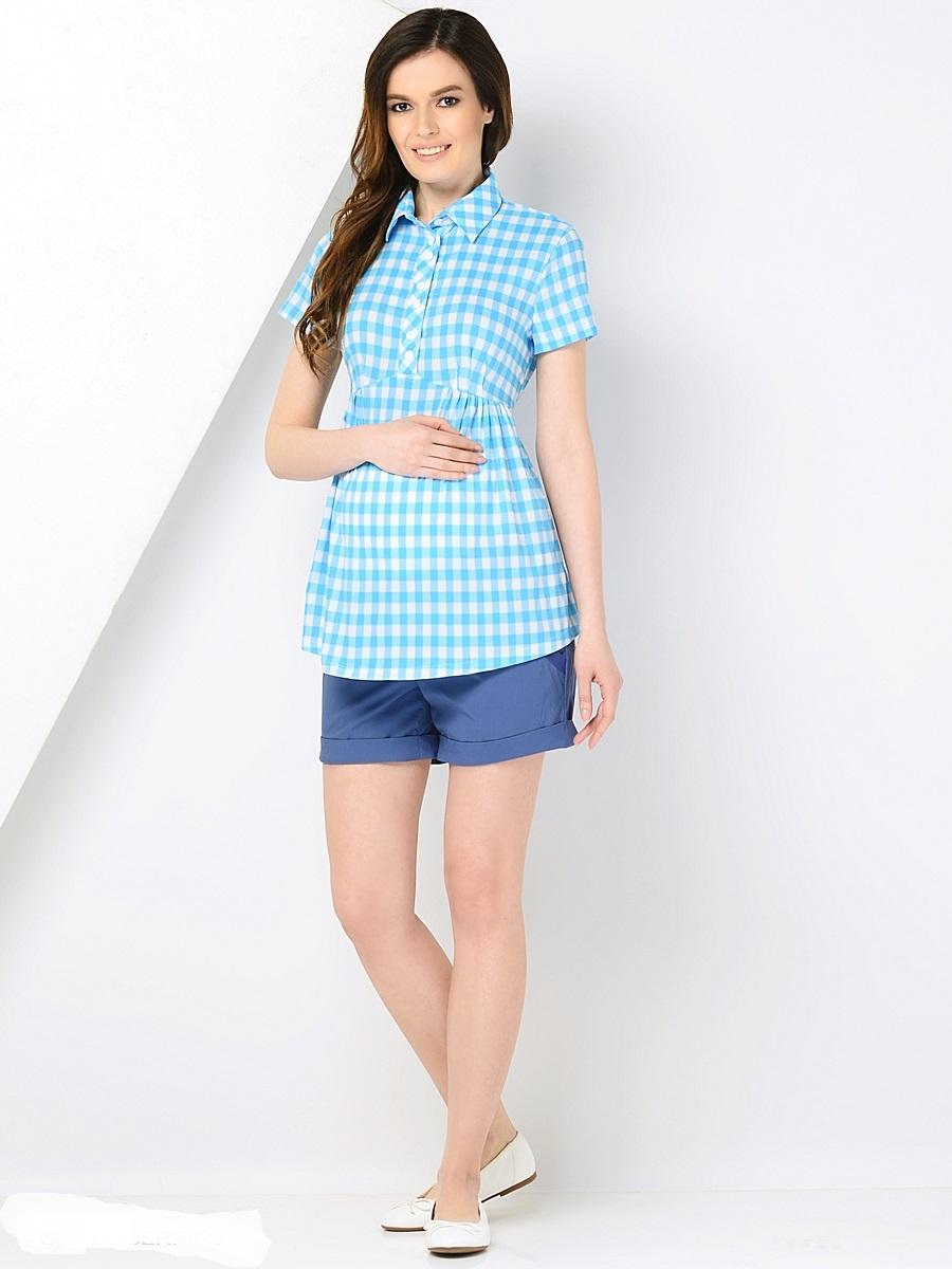 Блузка для беременных 40 недель, цвет: голубой. 212257. Размер 46212257Модная блузка-рубашка в клетку для беременных от бренда 40 недель изготовлена из приятного к телу хлопкового материала. Модель с короткими рукавами и классическим отложным воротником. Свободный крой с легкими складочками от кокетки создает простор для растущего животика во время беременности. К тому же такой фасон скроет временные несовершенства фигуры после рождения малыша, втачным поясом можно регулировать силуэт. Кокетка с планкой на пуговицах предусмотрена для быстрой подготовки и комфортного кормления грудью. В такой блузке всегда легко и комфортно, а образ выглядит женственно и безупречно.