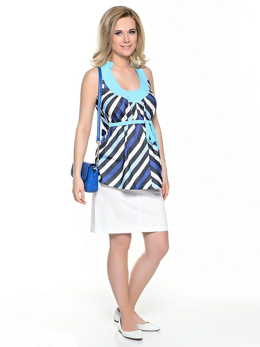 Топ для беременных 40 недель, цвет: голубой, черынй. 32351. Размер 4832351Изящный топ для беременных от бренда 40 недель прекрасно дополнит летний гардероб будущей мамы. Модель свободного покроя с легкими складками от округлого декольте. Свободный крой с разноцветными полосками по диагонали идеально корректирует силуэт, глубокое декольте делает акцент на женственности модели, американская пройма обнажает красоту плеч, втачными поясами можно регулировать силуэт.