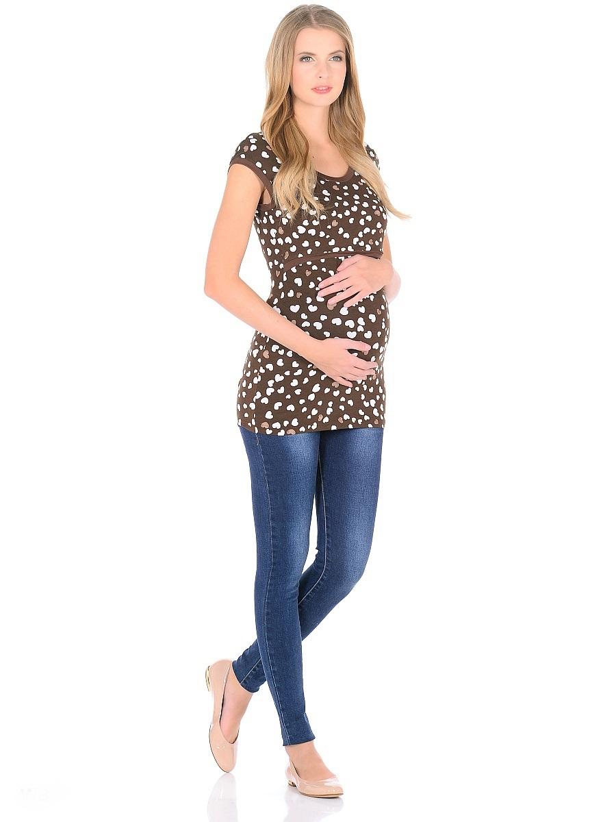 Футболка для беременных 40 недель, цвет: коричневый. 205120. Размер 42205120Футболка для беременных и кормящих женщин от бренда 40 недель - прекрасный выбор на каждый день. Удобная модель в привлекательной расцветке полуприталенного силуэта, с короткими рукавами и с округлым вырезом горловины. Блузка имеет уникальный секрет кормления, который скрыт под кокеткой спереди, и позволяет с комфортом кормить малыша грудью незаметно для окружающих. Практичная, мягкая вискозная ткань с небольшим добавлением лайкры, хорошо растягивается и бережно облегает, ткань приятная к телу, не мнется, и всегда идеально сидит по фигуре, по этому в такой футболке всегда легко и комфортно.