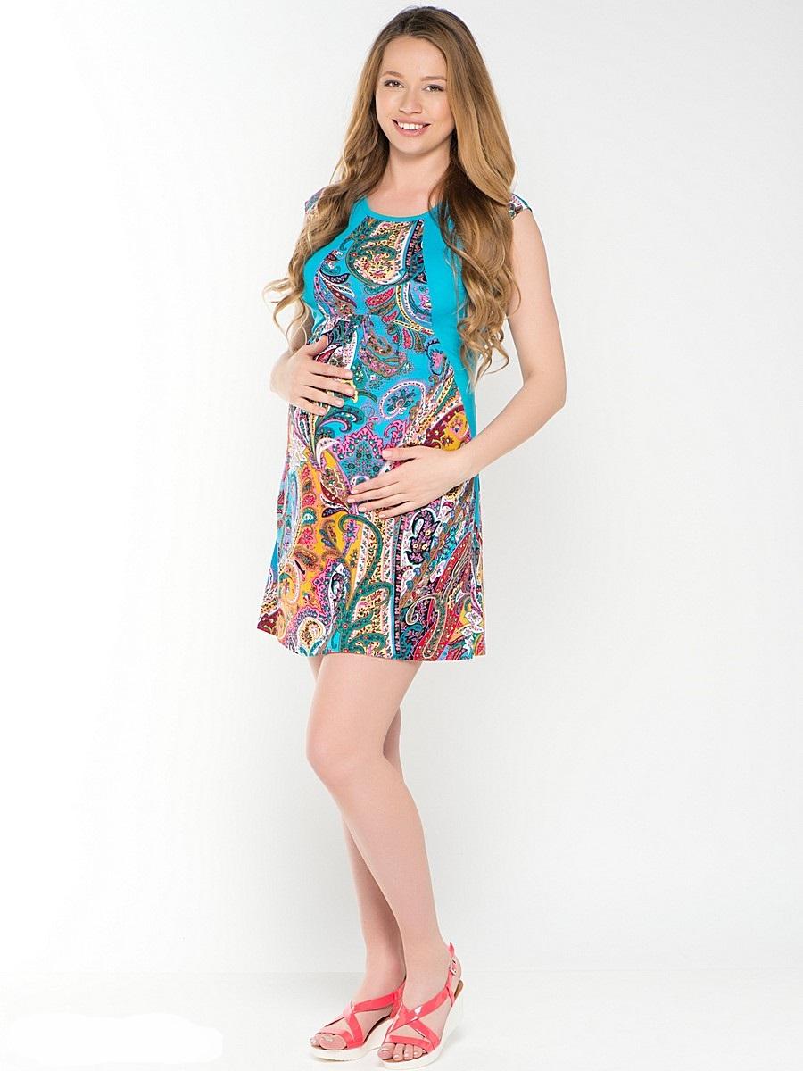 Платье для беременных 40 недель, цвет: голубой, желтый. 46421. Размер 4446421Легкое платье для беременных от бренда 40 недель - прекрасный выбор на лето для будущей мамы. Модель свободного кроя, с округлой горловиной и без рукавов. Платье декорировано трикотажными вставками. Платье подходит для носки как во время беременности, так и после рождения малыша.