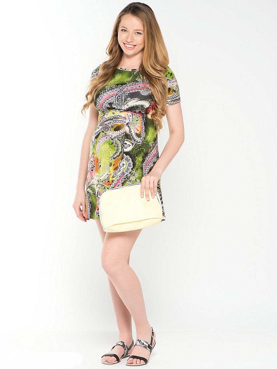 Платье для беременных 40 недель, цвет: зеленый, розовый. 39378. Размер 4839378Повседневное платье для беременных и кормящих мамочек от бренда 40 недель - идеальный вариант на лето. Женственный силуэт подчеркивает креативный рисунок на приятном трикотажном полотне. Модель с короткими рукавами и с округлым вырезом горловины, имеет уникальный секрет кормления, который скрыт под кокеткой. Универсальный фасон позволяет с комфортом носить такое платье на любом сроке беременности и после рождения малыша.